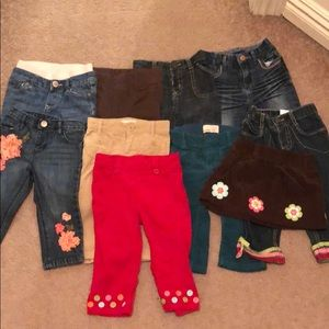 10 pair of pants and one skirt - girl 12-18 months
